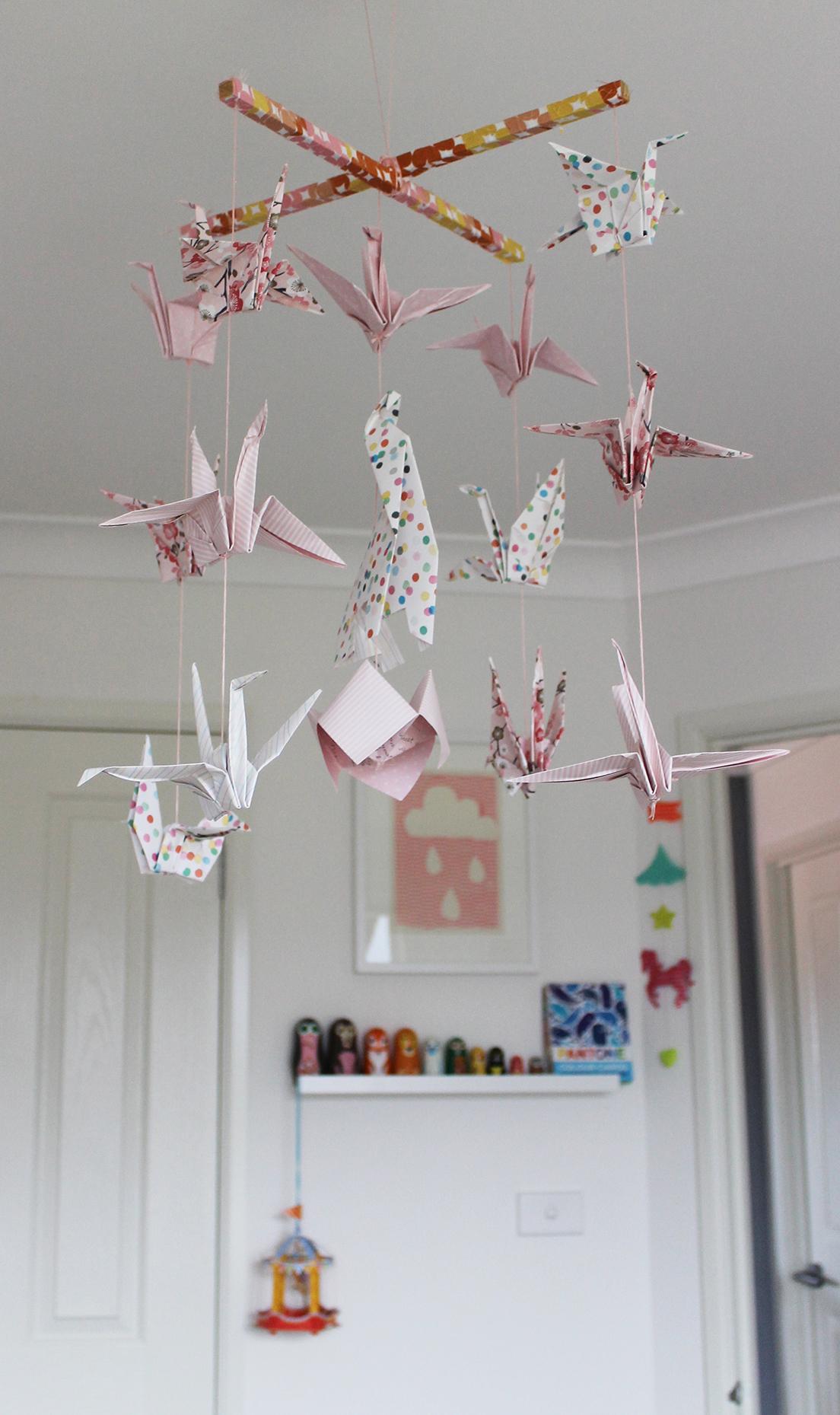 Origami crane mobile diy